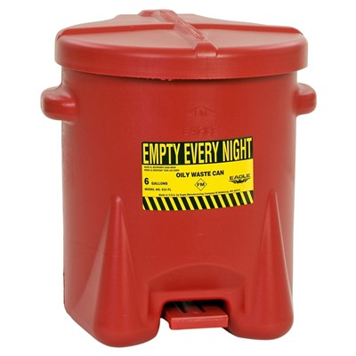 Can Oily Waste 6gal Poly RED