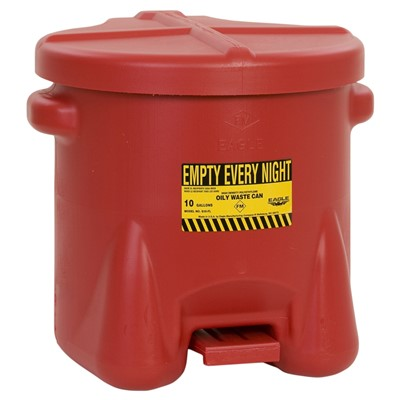 Can Oily Waste 10gal Poly RED