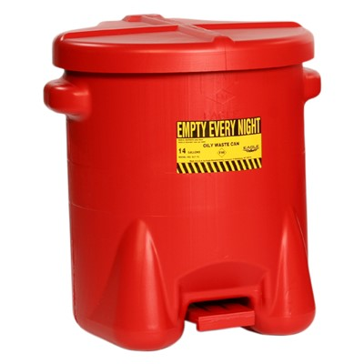 Can Oily Waste 14gal Poly RED