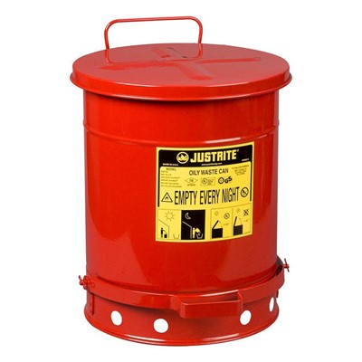 Can Metal Oily Waste 10gal RED