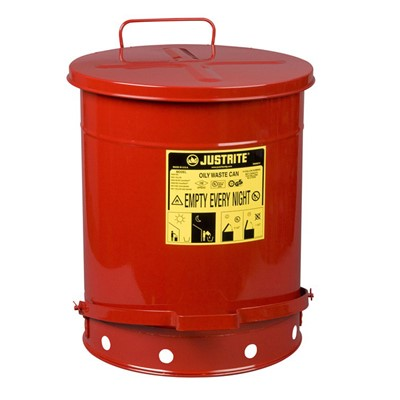 Can Metal Oily Waste 14gal RED