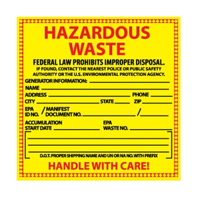 Label 6x6 PS vinyl Hazardous Waste