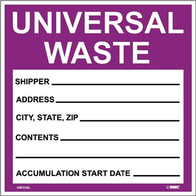 Label 6x6 Universal Waste