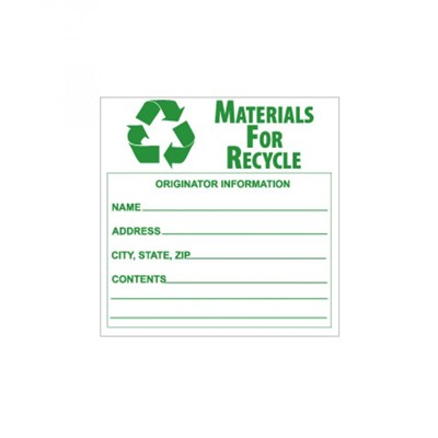 Label 6x6 Materials For Recycle