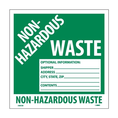 Label 6x6 PS vinyl Non-Hazardous Waste