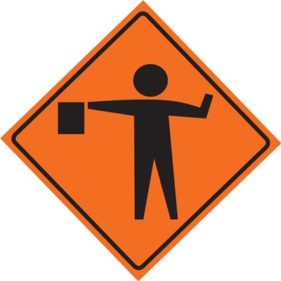 Roll Up Sign 36x36 Flagger Symbol