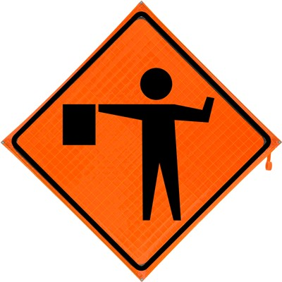 Roll Up Sign 48x48 Flagger Symbol